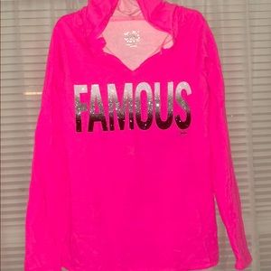 Girls Justice bright/Neon pink sweater with hoodie